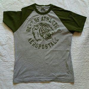 Men's Grey and Hunter Green Aeropostale Shirt
